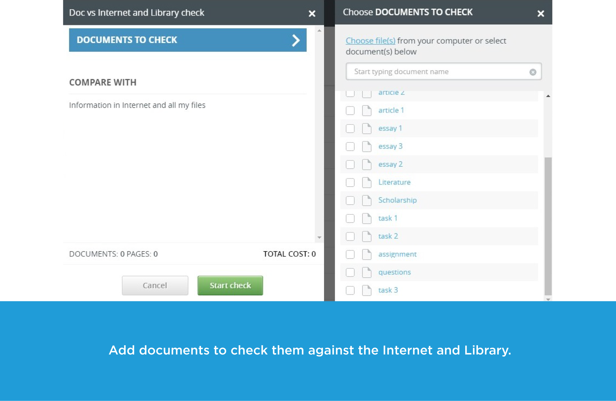 Screenshot_ Add documents to check them against the Internet and Library