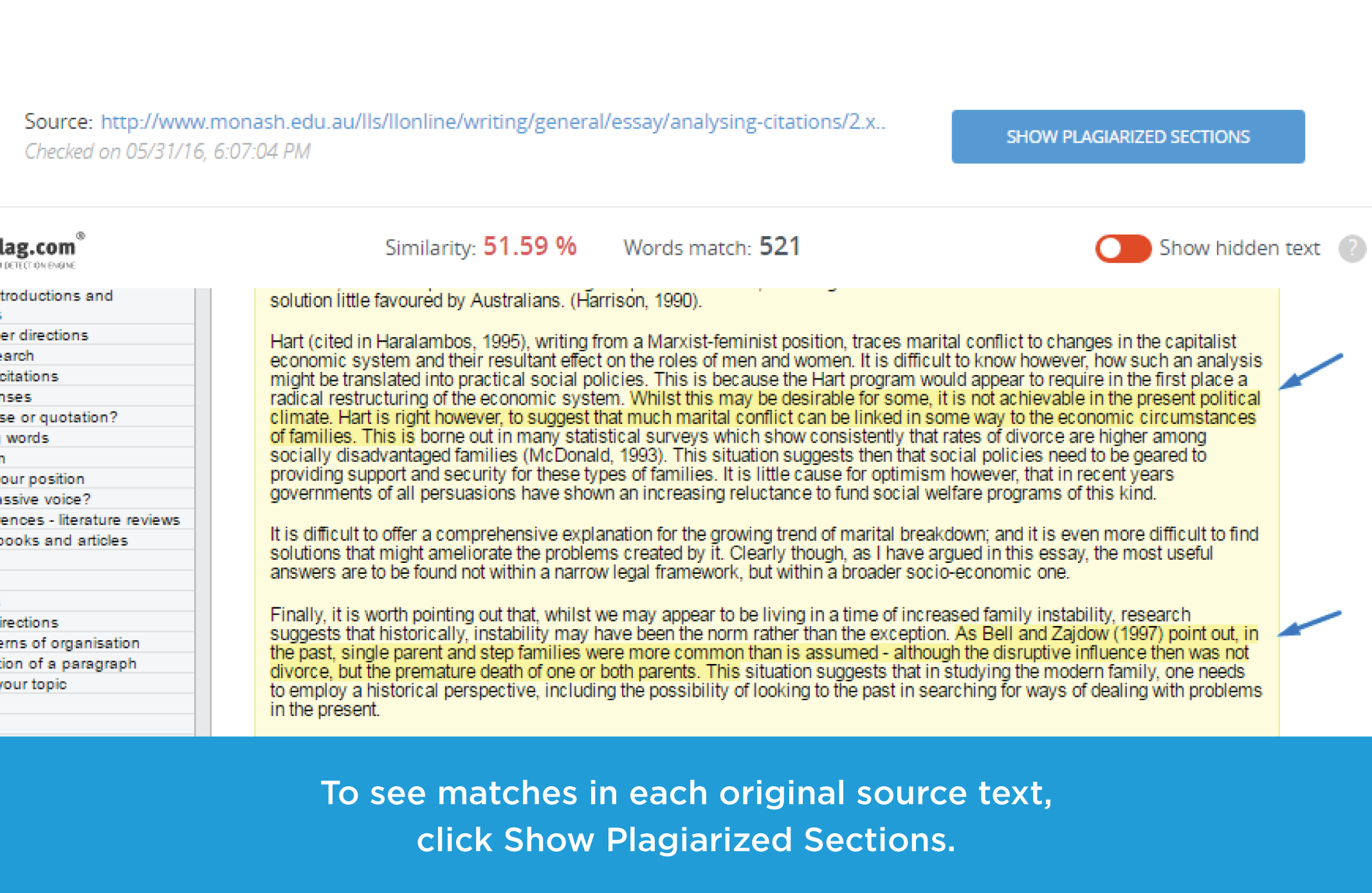 unplag upgrades for canvas updated interface and commenting mode view matches in each original source text