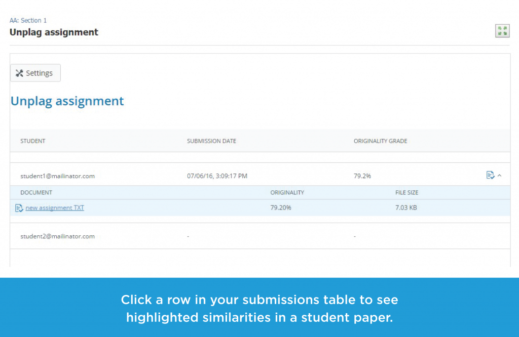 Click a row in your submissions table to see highlighted similarities in a student paper