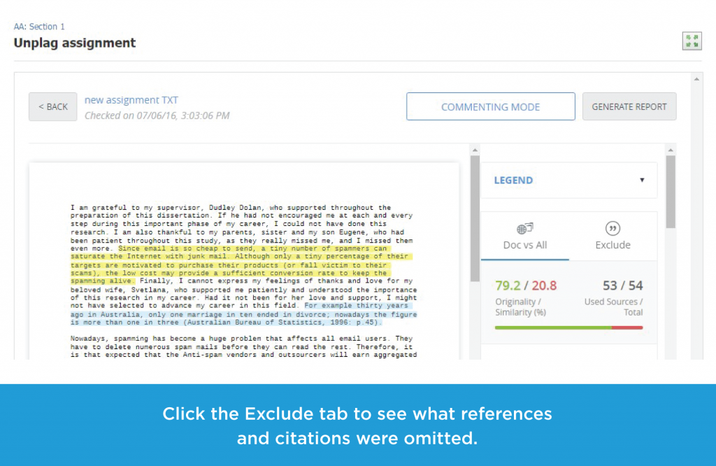 Click the Exclude tab to see what references and citations were omitted