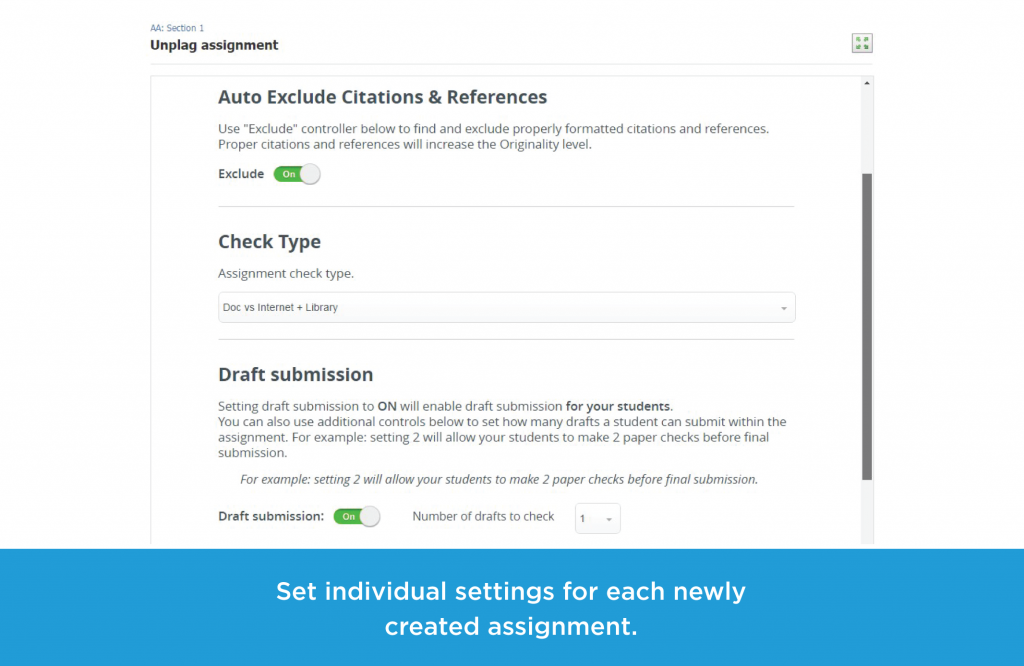 Set individual settings for each newly created assignment