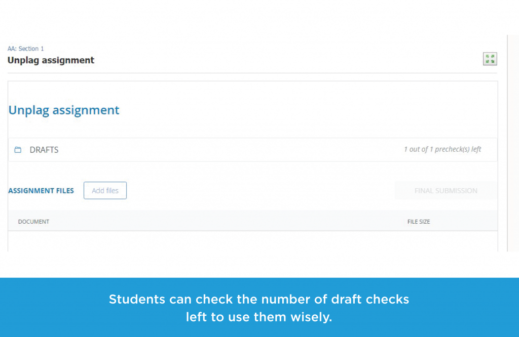 Students can check the number of draft checks left to use them wisely