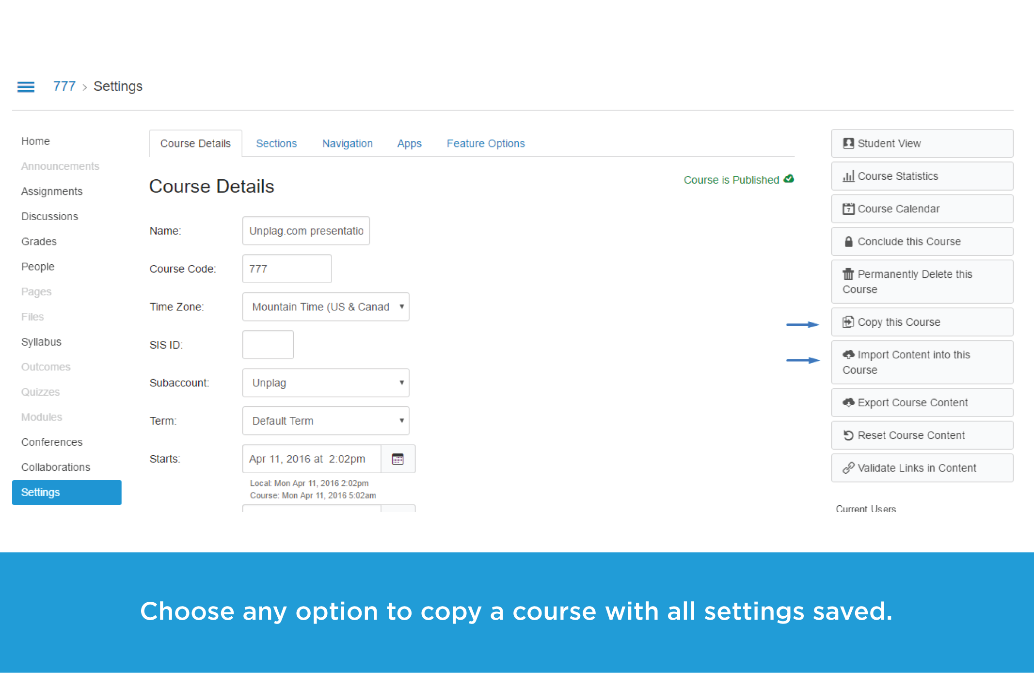 Copy a course with all settings saved