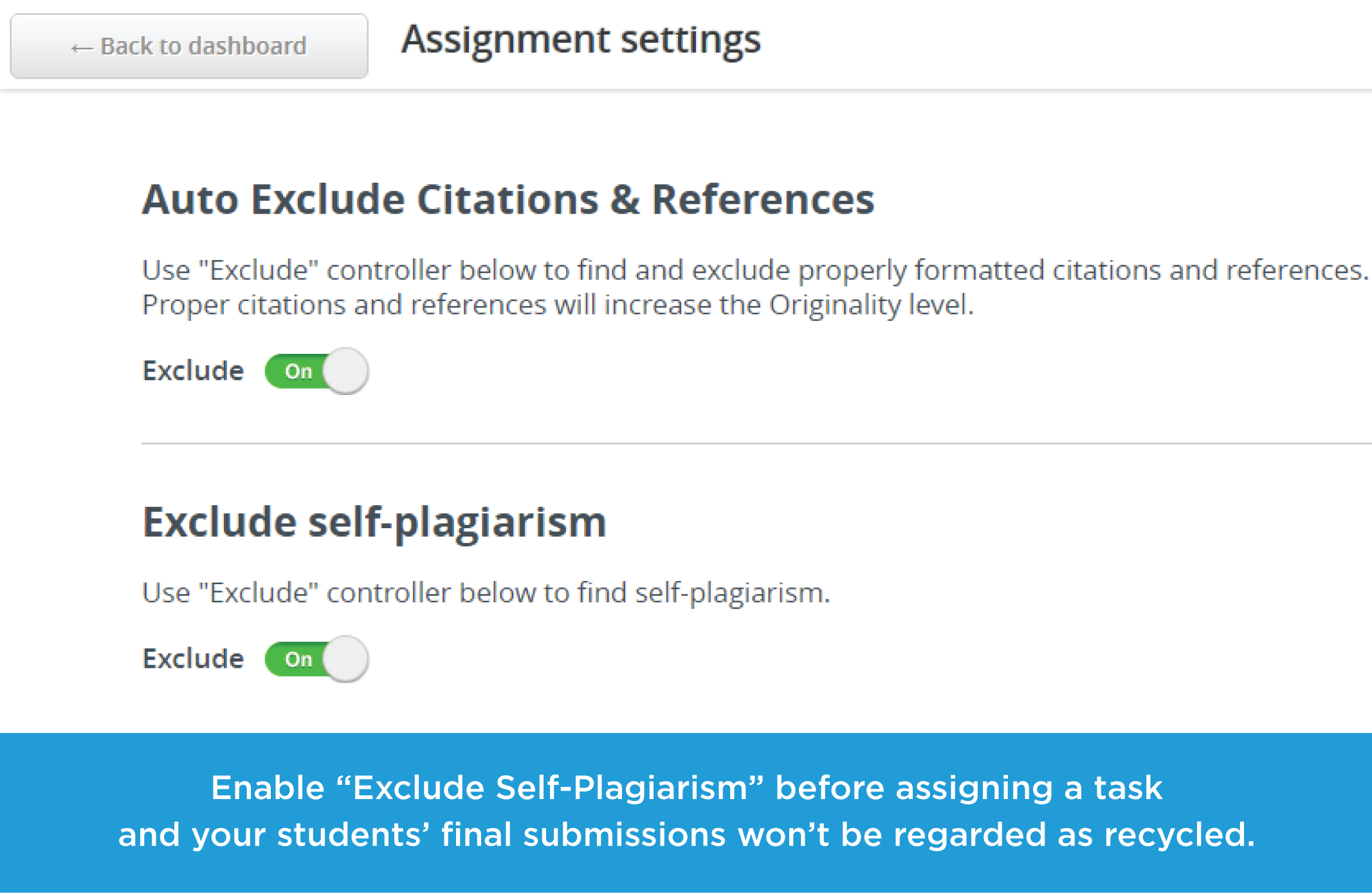 Feature to Exclude Self-Plagiarism