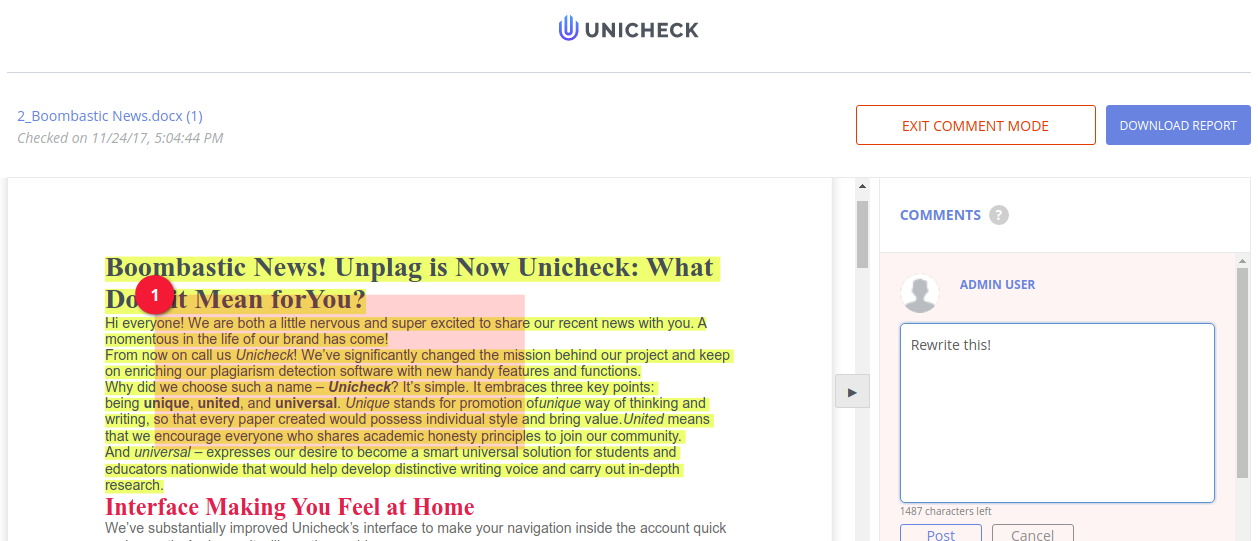 Unicheck Moodle plugin functions