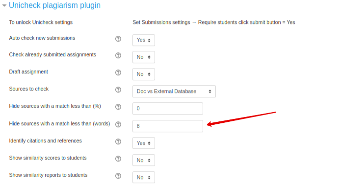 Unicheck plagiarism plugin settings