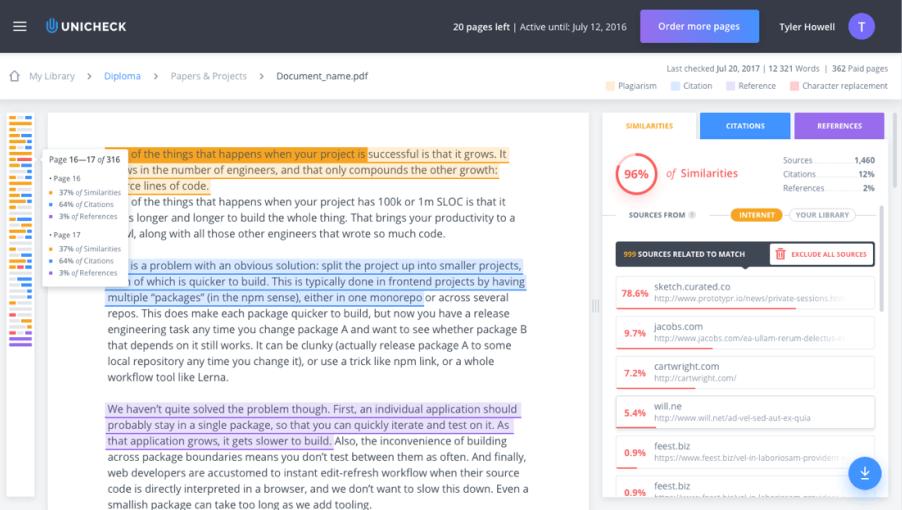 Unicheck similarity reports